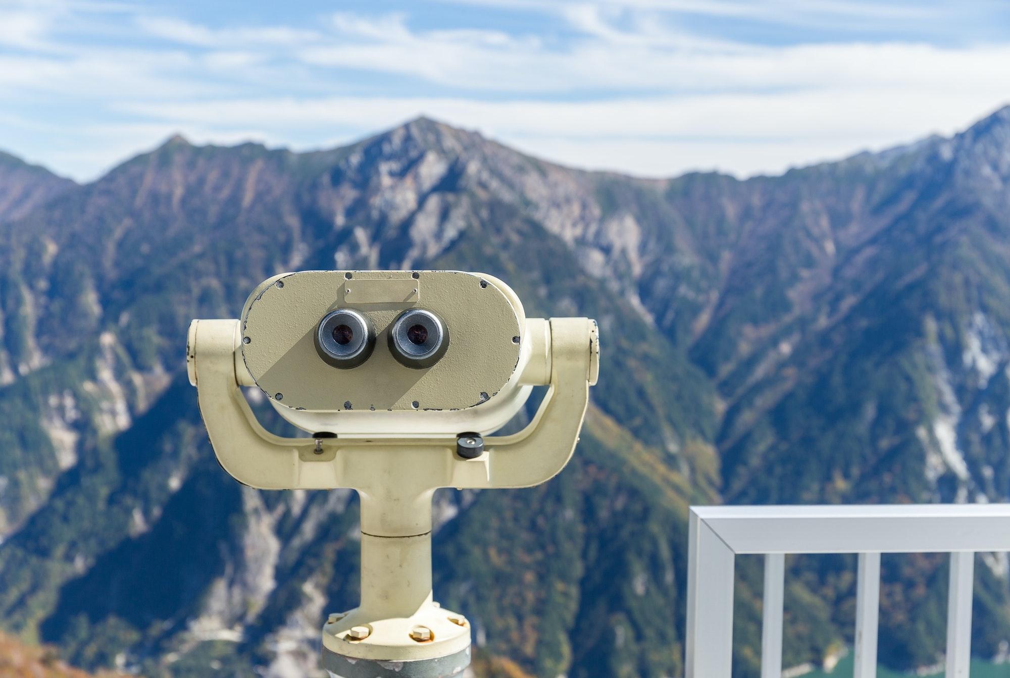Tourist binocular at mountain
